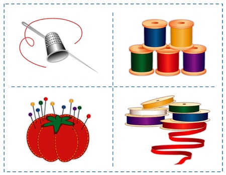 darn: Sewing accessories  silver thimble, needle, strawberry pincushion, straight pins, satin ribbons, spools of thread, isolated on white