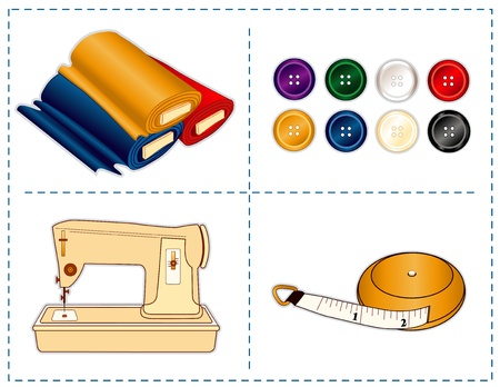 Sewing machine, tape measure, bolts of fabric, buttons in jewel colors isolated on white