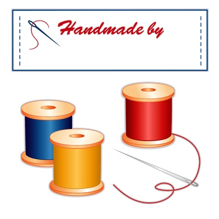 spool: Needle, threads, sewing label, Handmade by with copy space to add your name, isolated on white