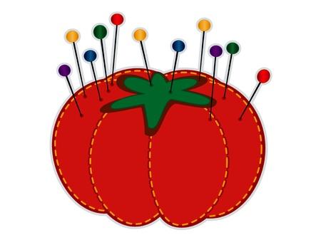 Pelote à épingles aux fraises, des épingles à tête de verre droites en couleurs bijoux isolé sur blanc