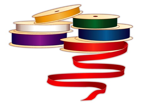Spools of satin ribbons in jewel colors for sewing, tailoring, quilting, crafts, needlework, do it yourself projects, isolated on white
