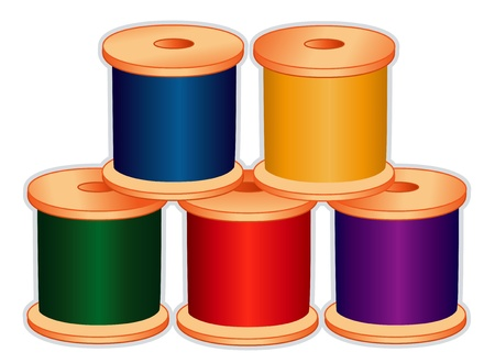 Spools of thread in jewel colors for sewing, tailoring, quilting, crafts, needlework, do it yourself projects, isolated on white