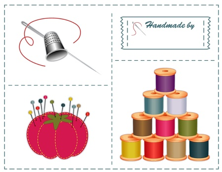 dressmaking: Sewing accessories  silver thimble, needle, strawberry pin cushion, straight pins, thread, sewing label with copy space in contemporary Pantone fashion colors, isolated on white