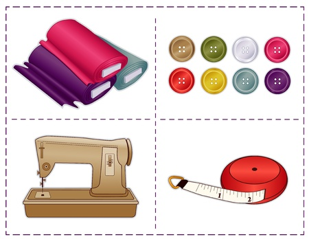 dressmaking: Sewing machine, tape measure, bolts of fabric, buttons in contemporary Pantone fashion colors isolated on white