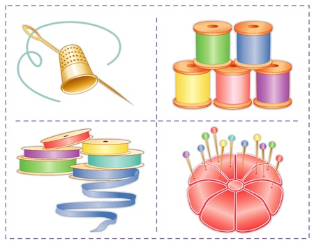 Sewing accessories, pastels, gold thimble, needle, satin pin cushion, straight pins, satin ribbons, spools of thread, isolated on white, for fashion sewing, tailoring, quilting, crafts, needlework, do it yourself projects  Ilustração
