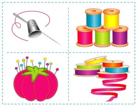 crafting: Los accesorios de costura, los colores de verano, dedal de plata, agujas, alfiletero fresa, alfileres, cintas de raso, carretes de hilo, para coser la moda, corte y confecci�n, acolchados, artesan�as, costura, h�galo usted mismo los proyectos, aislados en blanco