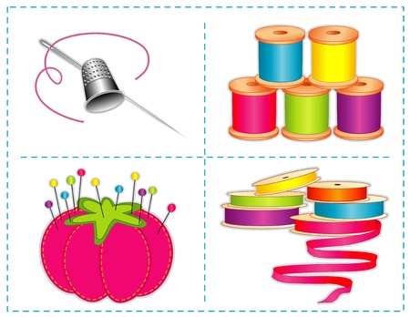 Sewing accessories, summer colors, silver thimble, needle, strawberry pin cushion, straight pins, satin ribbons, spools of thread, for fashion sewing, tailoring, quilting, crafts, needlework, do it yourself projects, isolated on white  Illustration