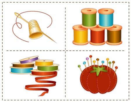 crafting: Los accesorios de costura, los tonos tierra, dedal de oro, agujas, alfiletero fresa, alfileres, cintas de raso, carretes de hilo, para coser la moda, confecci�n de prendas, acolchados, artesan�as, costura, h�galo usted mismo los proyectos, aislados en blanco Vectores