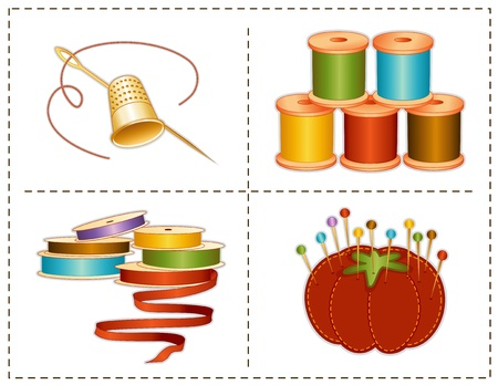 Sewing accessories, earth tones, gold thimble, needle, strawberry pin cushion, straight pins, satin ribbons, spools of thread, for fashion sewing, tailoring, quilting, crafts, needlework, do it yourself projects, isolated on white