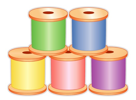 darn: Threads in pastel colors for sewing, tailoring, quilting, crafts, needlework, do it yourself projects, isolated on white