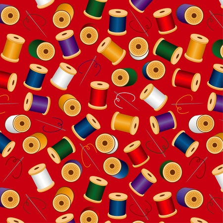 darn: Needles and Threads, seamless background, includes pattern swatch  Illustration