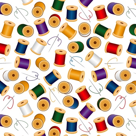 Needles and Threads, seamless background, includes pattern swatch  Ilustrace