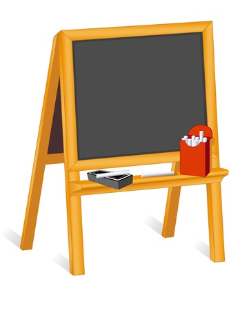 Childs blackboard easel, copy space, box of chalk, eraser   Vector