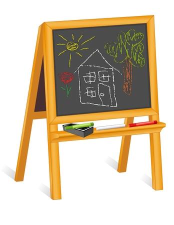 Childs schoolbord ezel, krijt tekeningen van het huis en landschap, gum
