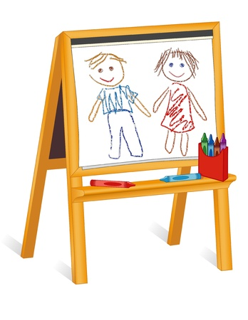 Childs crayon drawings on wood easel, box of crayons  Vectores