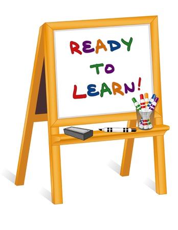 whiteboard: Childs whiteboard schildersezel, stiften, gom, klaar om te leren Stock Illustratie