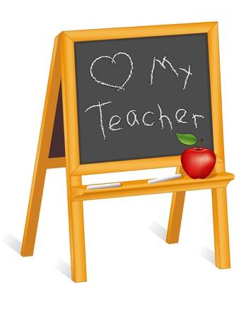 blackboard isolated: Love my Teacher, child s blackboard easel, chalk, red apple
