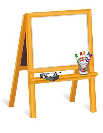 Childs whiteboard easel, copy space, marker pens, eraser  Vector