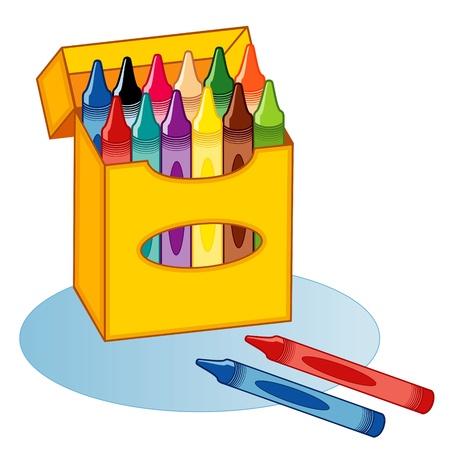 Big Box of Crayons, multicolor Stock Illustratie