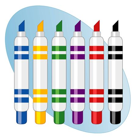 Marker Pens, multicolor felt tip set Illusztráció