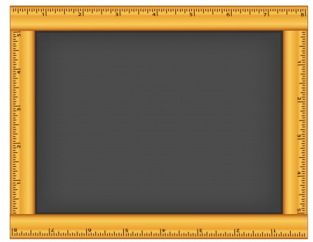 木製の定規フレーム、コピー領域と空の黒板