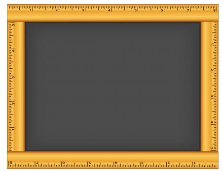 Blank chalkboard with wood ruler frame, Copy space  Ilustracja