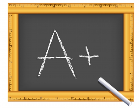 Chalkboard with wood ruler frame, A plus chalk text