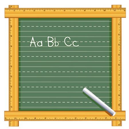 Bord met houten liniaal frame, abc krijt tekst, kalligrafie lijnen, kopieer ruimte