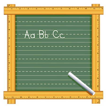 Chalkboard with wood ruler frame, abc chalk text, Penmanship lines, Copy space Vector