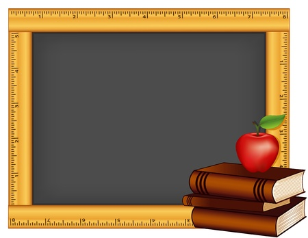 Chalkboard with wood ruler frame, Stack of books, Apple for the teacher, Copy space  Vectores