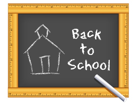 schoolhouse: Chalkboard with wood ruler frame, Schoolhouse drawing, Back to School chalk text
