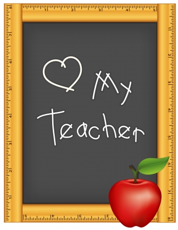 Love my Teacher, Wood Ruler Frame Chalkboard, Apple Stock Vector - 14587980