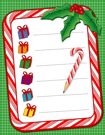 shopping list: Christmas Present Shopping List with candy cane frame, pencil, holly, berries, green background  Illustration