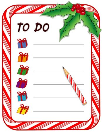 Christmas Gift To Do List with candy cane frame, presents, pencil, holly, berries, isolated on white