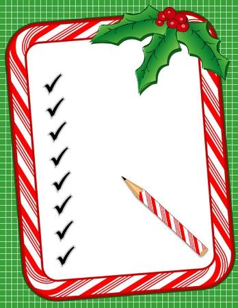 크리스마스 사탕 지팡이 프레임 명부를, 체크 표시, 연필, 홀리, 딸기, 녹색 배경 일러스트