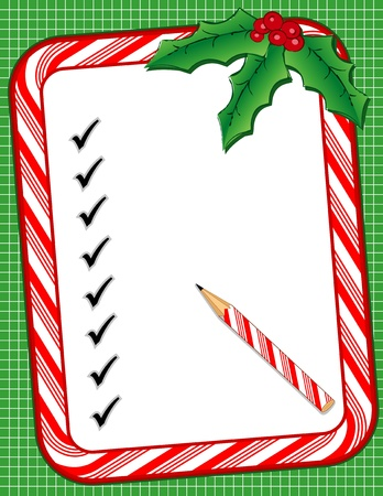 holiday shopping: Christmas To Do List with candy cane frame, check marks, pencil, holly, berries, green background