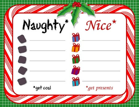 Santas Christmas List with candy cane frame, holly, berries  Nice get presents; naughty get coal