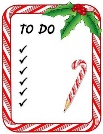 holiday: Christmas To Do List with candy cane frame, check marks, pencil, holly, berries, isolated on white