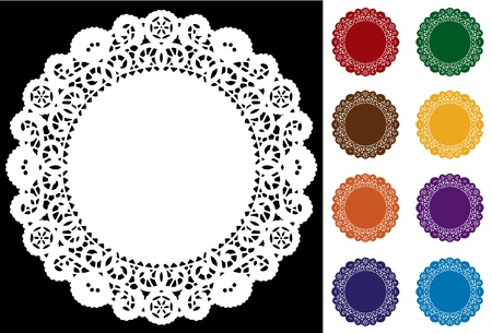 doilies: Encaje Esteras del tapetito del lugar, los colores joya de tono Vectores
