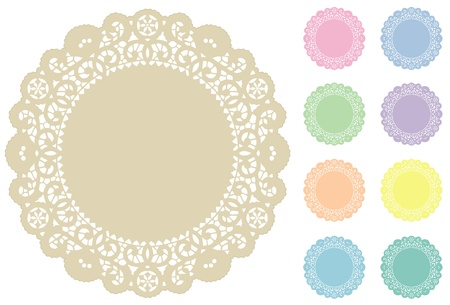 Lace Doily Place Mats, 9 pastel tints  Vector
