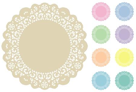 festonati: Lace tovagliette Pizzi, 9 tinte pastello Vettoriali