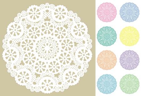 Lace Doily Snowflake Place Mats, Pastels   Vector