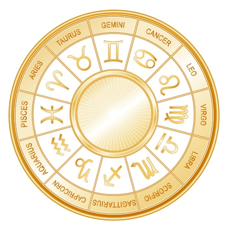 Horoscope Wheel Mandala with twelve gold sun signs of the Zodiac  Gemini, Cancer, Leo, Libra, Virgo, Scorpio, Sagittarius, Capricorn, Aquarius, Pisces, Aries, Taurus