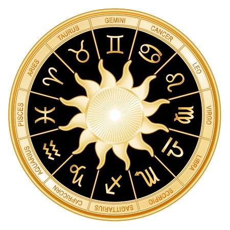 astrologie: Horoskop Sternzeichen Mandala mit zwölf goldenen Symbole der Tierkreiszeichen Zwillinge, Krebs, Löwe, Waage, Jungfrau, Skorpion, Schütze, Steinbock, Wassermann, Fische, Widder, Stier
