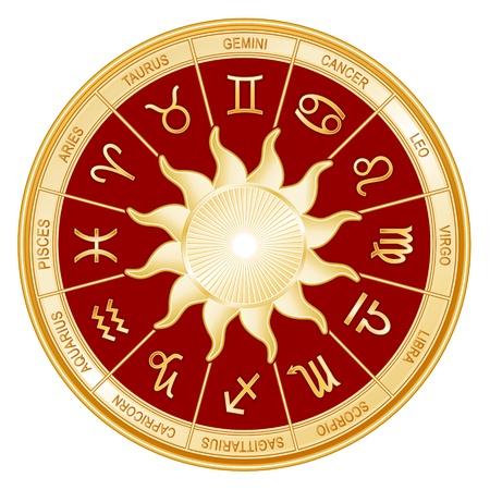 roue de fortune: Horoscope signe solaire Mandala avec douze symboles du zodiaque or G�meaux, Cancer, Lion, Balance, Vierge, Scorpion, Sagittaire, Capricorne, Verseau, Poissons, B�lier, Taureau Illustration