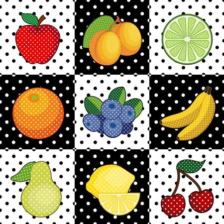 Fruit Tiles  apple, apricots, lime, orange, blueberry, banana, pear, lemon, cherries  Black and white polka dot pattern tile background