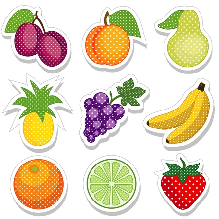 Fruit Stickers in polka dot design  plum, peach, pear, pineapple, grape, banana, orange, lime, strawberry Stock Vector - 14783448