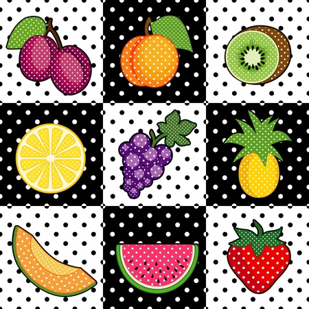 Fruit Tiles  plums, peach, kiwi, lemon, grapes, pineapple, cantaloupe, watermelon, strawberry  Black and white polka dot pattern tile background