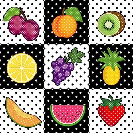 acid: Fruit Tiles  plums, peach, kiwi, lemon, grapes, pineapple, cantaloupe, watermelon, strawberry  Black and white polka dot pattern tile background