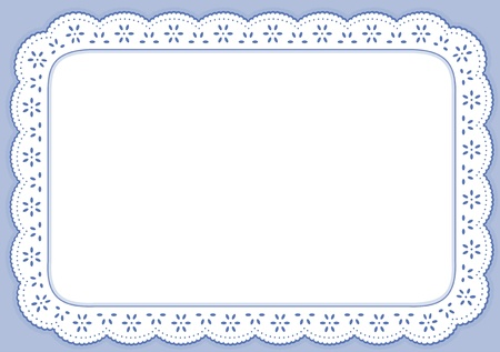 Placemat, Pastel Blue Eyelet Lace Embroidery, copy space